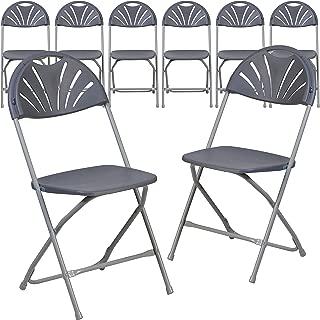 Flash Furniture 8 Pk. HERCULES Series 650 lb. Capacity Charcoal Plastic Fan Back Folding Chair