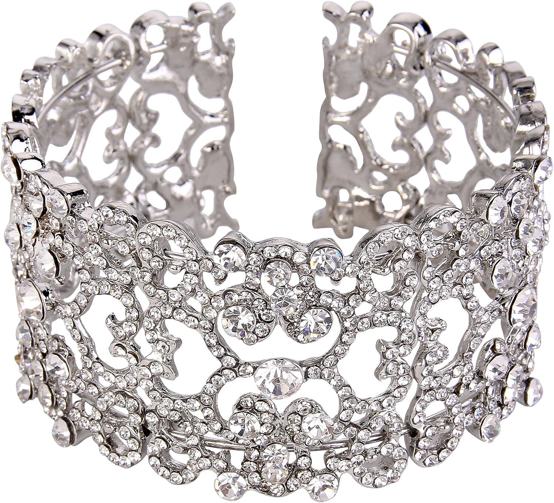 EVER FAITH Women's Austrian Crystal Elegant Bridal Lace Flower Cuff Bracelet