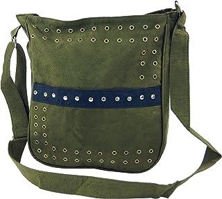 GURU SHOP Schultertasche mit Nieten Bali - Hellblau, Herren/Damen, Synthetisch, 27x23 cm, Alternative Umhängetasche, Handtasche aus Stoff