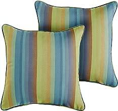 1101Design Sunbrella Astoria Lagoon Corded Decorative Indoor/Outdoor Square Throw Pillow, Perfect for Patio Decor - Blue Stripe 22