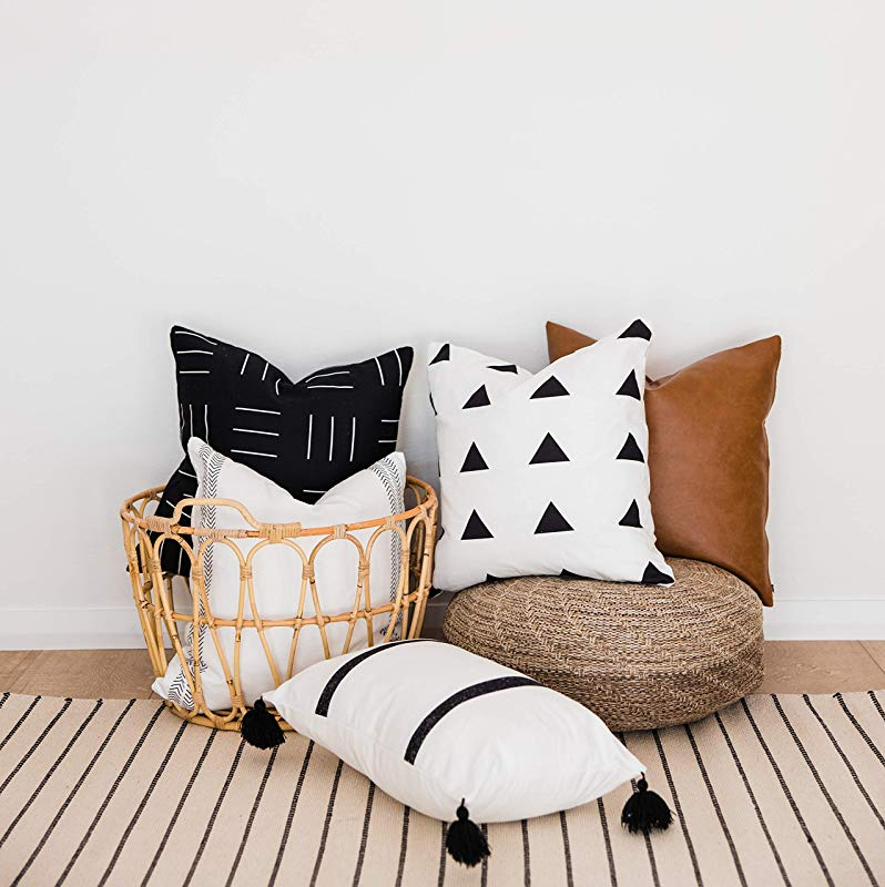 One Queens Lane Decorative Throw Pillow Covers ONLY For Couch Sofa Or Bed Boho Geometric Modern Design 100 Cotton And Vegan Faux Leather Set Of 5 18 X 18 Inch Brooklyn Set