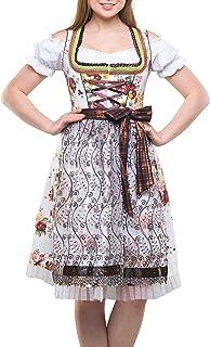 Dirndlspatz Sale Dirndl Damen Set 3 teilig Sonja in Braun Beige Gr 34 36 38 40 42 44 46 48 50 52 54 Midi Dirndl Blumen Trachtenkleid 3 TLG Oktoberfest