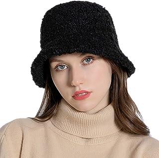 H HOME-MART Women Winter Bucket Hat Vintage Cloche Hats Warm Faux Fur Wool Outdoor Fisherman Cap Black
