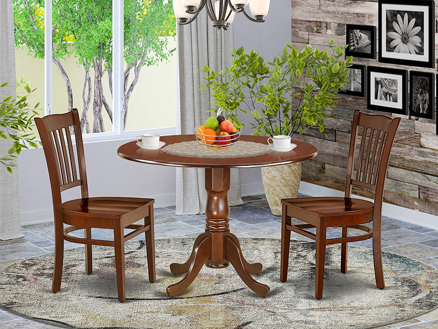 9Pc Round 9 Inch Dining Table With Two 9 Inch Drop Leaves And 9 Wood Seat  Chairs