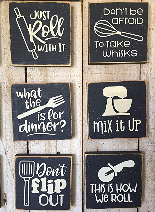 Delia32agnes Funny Kitchen Wall Art Cooking Pun Signs Mini Kitchen Wooden Sign 5 X 5 Black And White Kitchen Decor Farmhouse Kitchen Kitchen Quotes Amazon De Home Kitchen