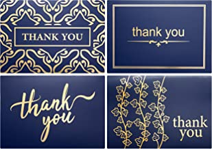 100 Bulk Thank You Cards with Envelopes by Layneria - Gold Foil and Navy Blue Card - 4x6 Inch Blank Notes and White Envelope Perfect for Wedding Business Funeral Graduation Bridal Gift and Baby Shower