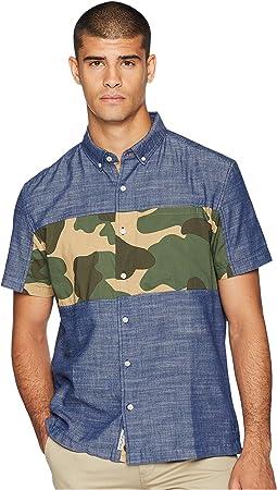 Short Sleeve Twill Pieced Camo Print Shirt