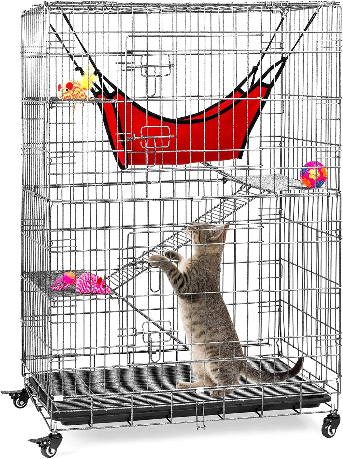 Best Choice Products 30x19x43in 4-Tier Steel Cage Playpen Kennel Crate for Cats and Small Animals w/ Hammock, Rolling Wheels, Adjustable Shelves & Ramps, Removable Tray: Pet Supplies