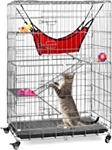 Best Choice Products 30x19x43in 4-Tier Steel Cage Playpen Kennel Crate for Cats and Small Animals w/Hammock, Rolling Wheel...