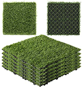 Artificial Grass Turf Tiles - Square Fake Grass Interlocking Mat with Self-draining, Floor Mat for Dogs Outdoor Patio Balcony Garden Lawn Flooring Decor, 1' x 1' FT, 6 Pack