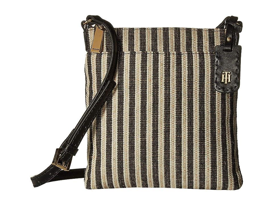 Tommy Hilfiger Julia Straw North/South Crossbody (Black/Natural) Handbags