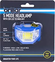 Brillar BR0030-NAVY BR0030-NAVY 5 Mode Headlamp with COB LED Technology Wide Beam Light Adjustable Headband 90 Degree Runn...