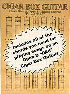 C. B. Gitty Chords Poster for 3-String Cigar Box Guitars - All The Most Popular Chords for Open D DAD Tuning