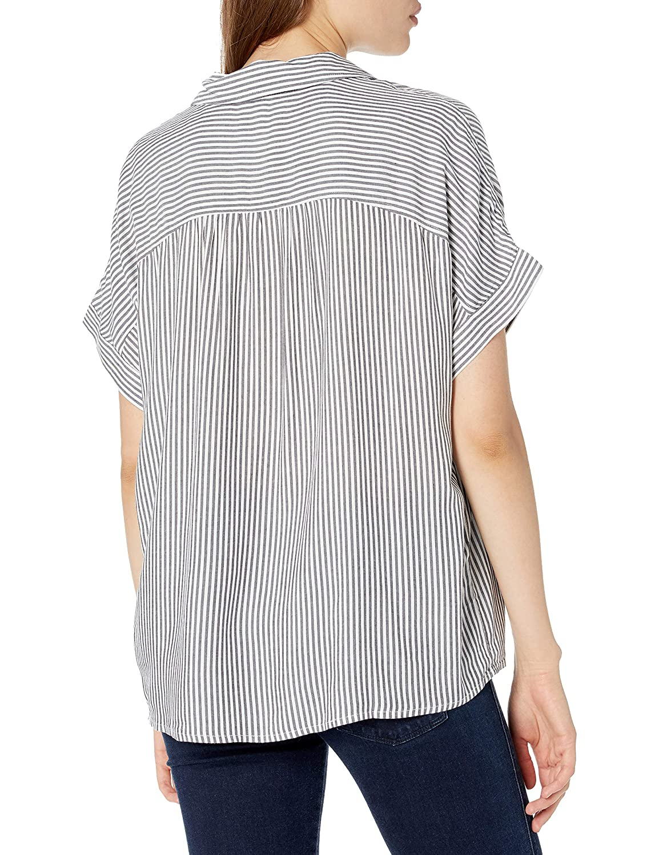Splendid Womens Lily Loose Fit Button Down Short Sleeve Shirt