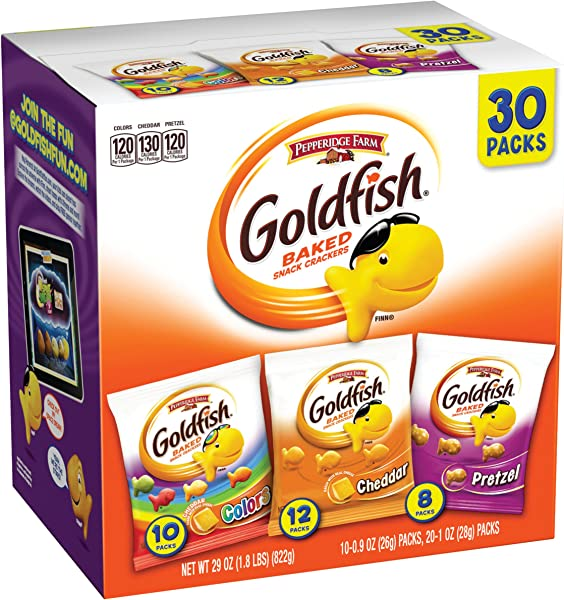 Pepperidge Farm Goldfish Crackers Classic Mix 29 Oz Variety Pack Box Snack Packs Pack Of 30
