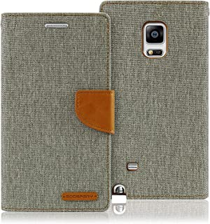 Goospery Canvas Wallet for Samsung Galaxy Note 4 Case (2014) Denim Stand Flip Cover (Gray) NT4-CAN-GRY