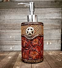 Western Lone Star Tooled Leather Soap / Lotion Dispenser