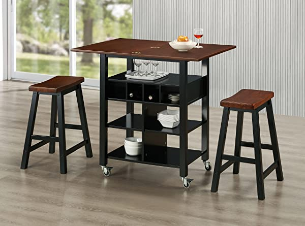 4D Concepts Phoenix Kitchen Island With 2 Stools
