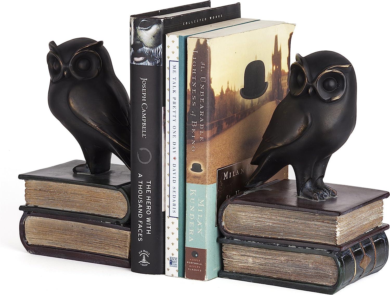 Manufacturer OFFicial shop Danya List price B. Owl Bookends Decorative Rustic - Owls Decor Bookshelf B