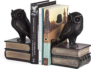 Danya B. Owl Bookends Decorative Rustic Bookshelf Decor - Owls Bookend Set for Heavy Books - Bronze Finish