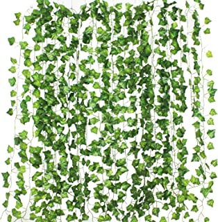GPARK 12Pack / Each 82 inch , Artificial Ivy Garland Fake Plants , Green For Wedding Party Garden Outdoor Greenery Wall Decoration