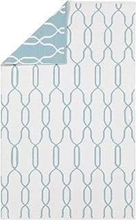 Surya Hand Woven Geometric Area Rug, 8 by 11-Feet, Ivory/Teal