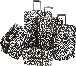 Luggage Animal Print 5 Piece Set, Zebra Black, One Size