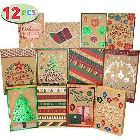 12 Christmas Foil Kraft Gift Boxes with 3 Sizes (Robe, Shirt and Lingerie Boxes) for Xmas Goody Gift Boxes, School Classrooms Party Favors Decoration, Holiday Present Wrap Décor.