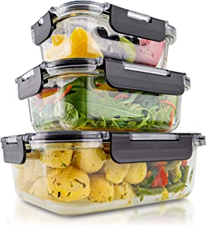 edallo® boites de conservation alimentaire en verre avec couvercles Tritan® - lot de 3 - Adaptés au lave-vaisselle, four, ...