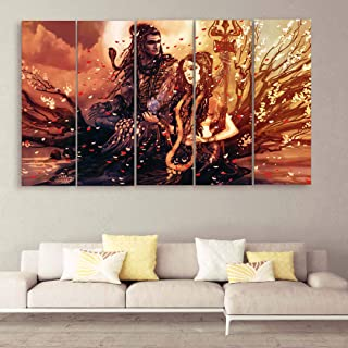 CasperMe Vinyl and MDF Shiv Parvati Wall Painting , Multicolour, Religious, 50 x 30 inch
