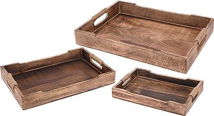 Preisvergleich für 3 teiliges Vintage-Tablett-Set, Holz mit Kordelgriff