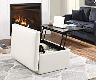 OSP Home Furnishings Elmington Storage Ottoman, Cream Vinyl