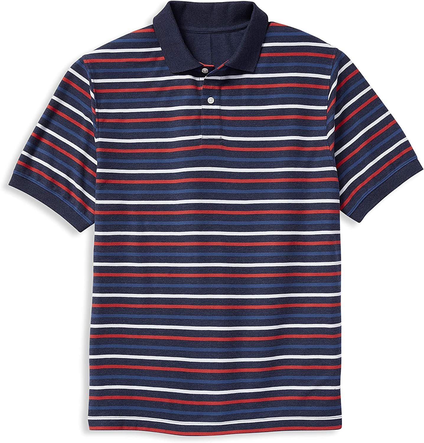 Harbor Bay by DXL Big and Tall Small Multi Stripe Polo Shirt, Blue Multi