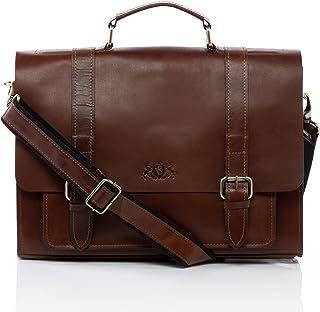 SID & VAIN Aktentasche echt Sattel-Leder Bristol groß Businesstasche 15.6 Laptop Bürotasche Laptoptasche Laptopfach Ledertasche Herren