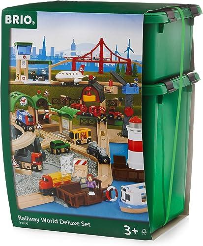 BRIO World 33766 - Größes BRIO World Premium Set, Kunststoffboxen, Eisenbahn