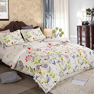 ELE Home Textile 3Pieces Duvet Cover (Leaves and Birds, King Size(Duvet Cover 90