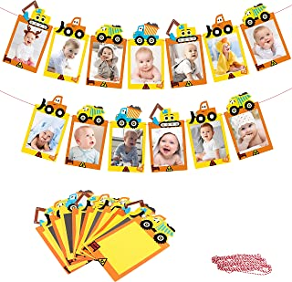 MALLMALL6 Construction Theme 12 Months Photo Banner Dump Trucks Baby Monthly Milestone Photos Banner Engineering Vehicle Car Excavator 1st Birthday Decoration Party Supplies for 1 or 12 Years Old Kids