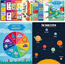 Youngever 12 Pack Laminated Educational Preschool Posters for Toddlers and Kids, Learning Posters, Classroom Posters, Teaching Posters, Alphabet ABC Posters, with Solar System (16 x 11 inch)