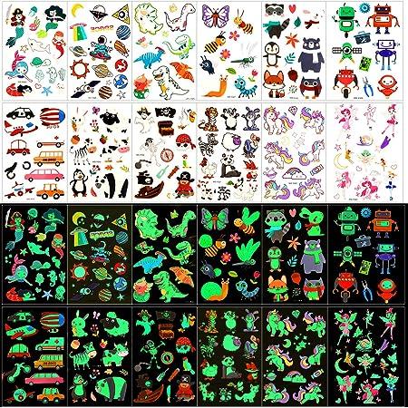 Qpout Tatuajes Temporales para niños, 135 tatuajes luminosos de dibujos animados de estilo mixto, unicornio sirena mariposa animal dinosaurio pirata tatuaje, regalo de decor fiesta para niños y niñas