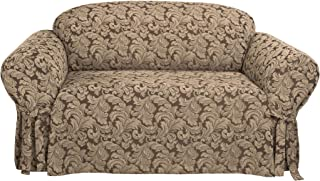 SureFit  Scroll Sofa 1 Piece Slipcover, Brown