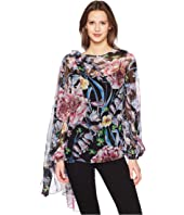 Prabal Gurung - Floral Chiffon Long Sleeve Top w/ Scarf