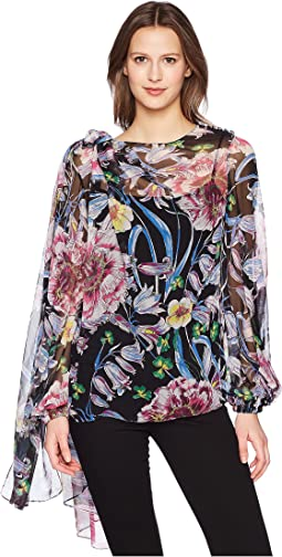 Floral Chiffon Long Sleeve Top w/ Scarf