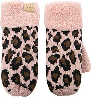 Mittens Kids Girls Fuzzy Lined Gloves - Indi Pink Leopard
