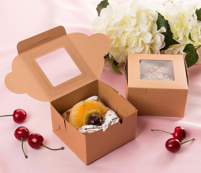 4 x 2,3 x 4 pollici confezione da 25 Juvale Scatole da forno in carta kraft per 1 - Porta pasticceria con vetrina trasparente marrone