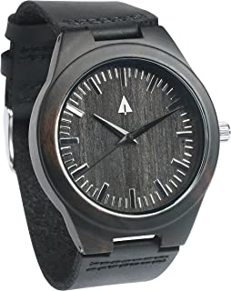 Mens All Black Ebony Wooden Watch with Genuine Black Leather Strap Qu.
