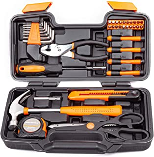 CARTMAN Orange 39-Piece Tool Set – General Household Hand Tool Kit with Plastic..