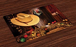 Ambesonne Western Place Mats Set of 4, Farmhouse with Christmas Celebrations with Wreath Americana Style Image Print, Washable Fabric Placemats for Dining Table, Standard Size, Brown Cream