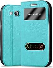 Cadorabo Funda Libro para Samsung Galaxy S3 / S3 Neo en Turquesa Menta - Cubierta Proteccíon con Cierre Magnético, Función de Suporte y 2 Ventanas- View Case Cover Carcasa