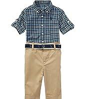 Ralph Lauren Baby Plaid Shirt Pants & Belt Set (Infant)