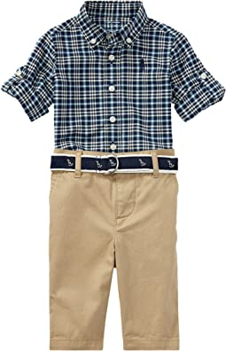 Ralph Lauren Baby - Plaid Shirt Pants & Belt Set (Infant)